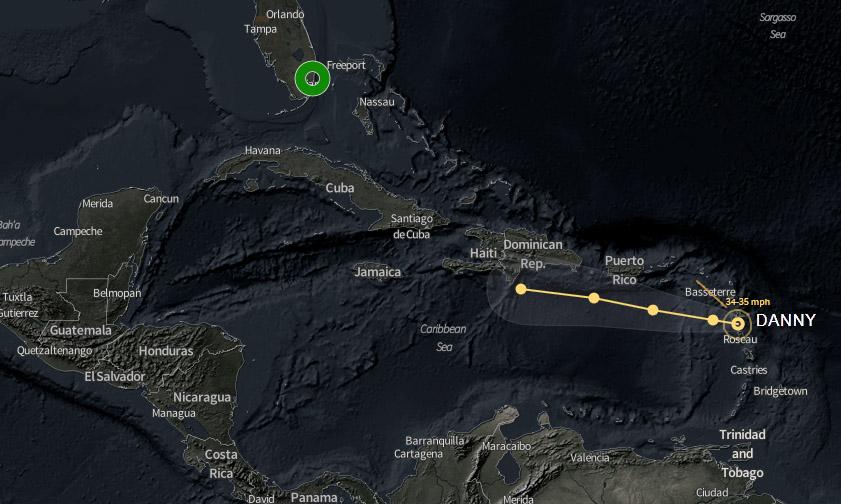 Tormenta Danny se degrada a depresión tropical al sur de Antillas Menores
