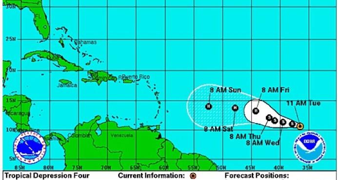 Se forma la cuarta depresión tropical en la cuenca atlántica