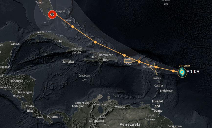 Tormenta tropical Erika se fortalece