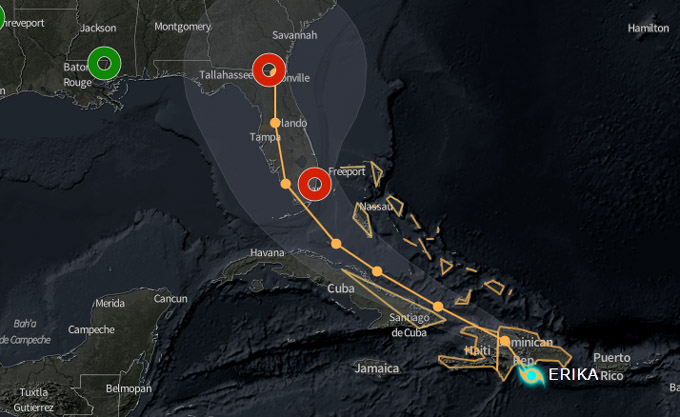 Erika se mueve al oestenoroeste, se acerca al oriente de Cuba