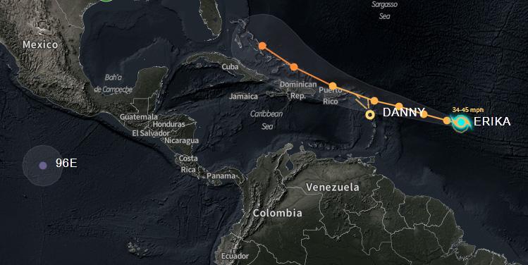 Surge la tormenta tropical Erika