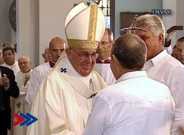 El Papa Francisco y Raúl Castro en el Cobre