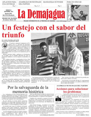 Edición impresa del semanario La Demajagua, 26 de septiembre 2015