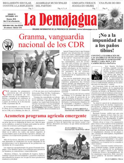 Edición impresa del semanario, 19 de septiembre 2015