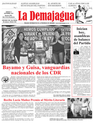 Edición impresa del semanario, 12 de septiembre de 2015
