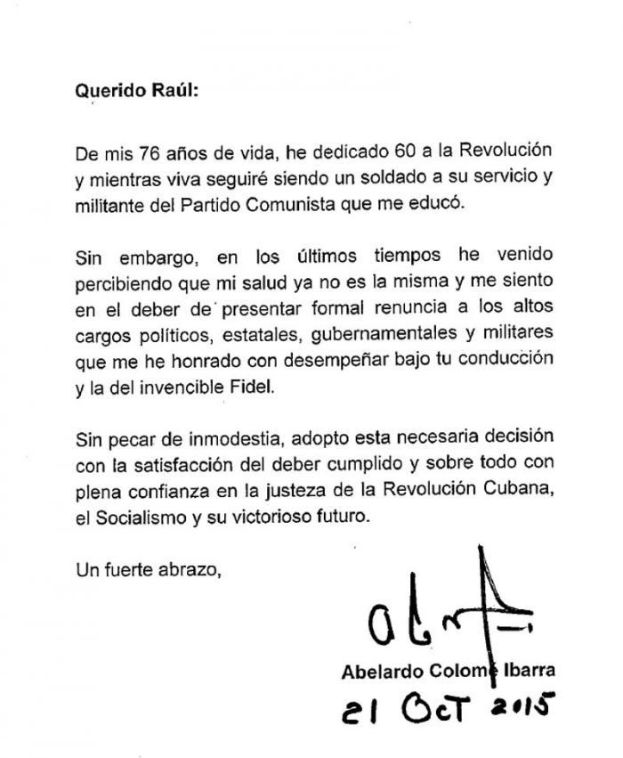 Carta de Abelardo Colomé Ibarra