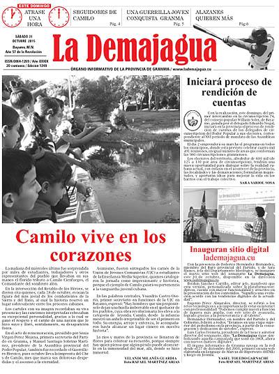 Edición impresa del semanario, 31 de octubre 2015