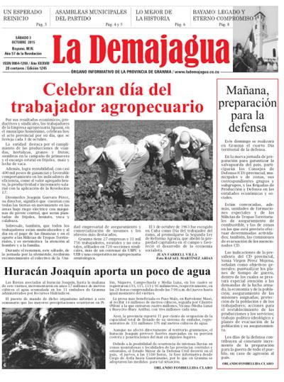 Edición impresa del semanario La Demajagua, 3 de octubre de 2015