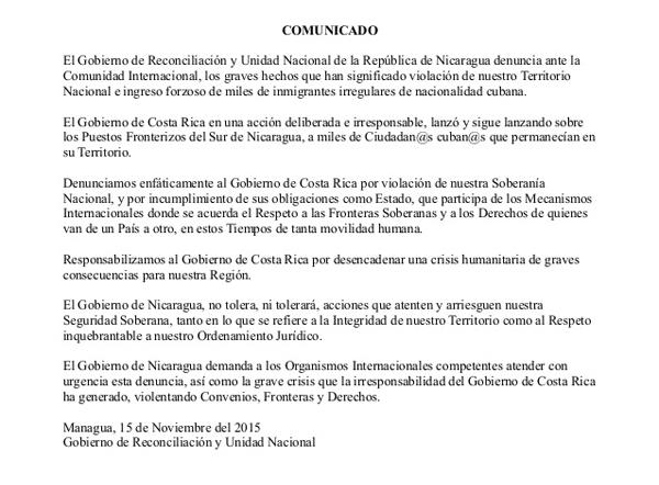 Comunicado de Nicaragua