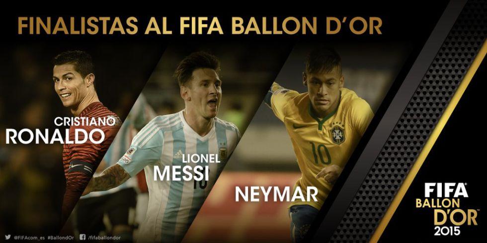 Messi, Cristiano y Neymar, finalistas del Balón de Oro