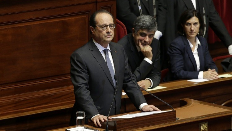 French President Francois Hollande delivers a speech at a special congress of the joint upper and lower houses of parliament at the Palace of Versailles, near Paris