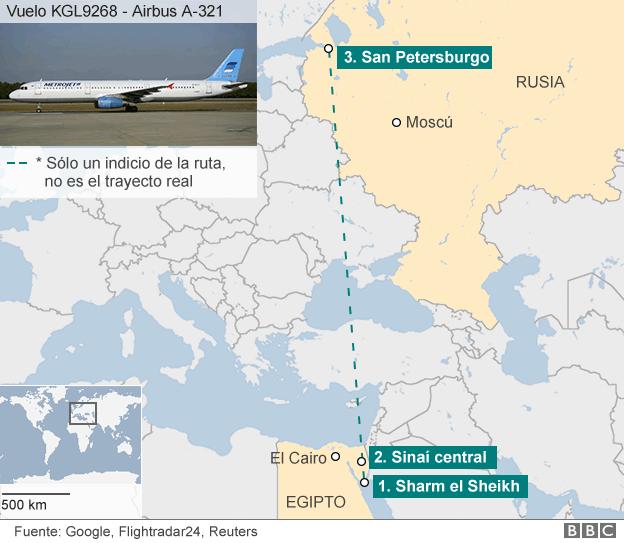 Atentado terrorista causó el derribo del avión que se estrelló en Egipto
