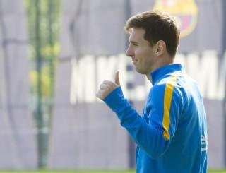 Lionel Messi en los entrenamientos