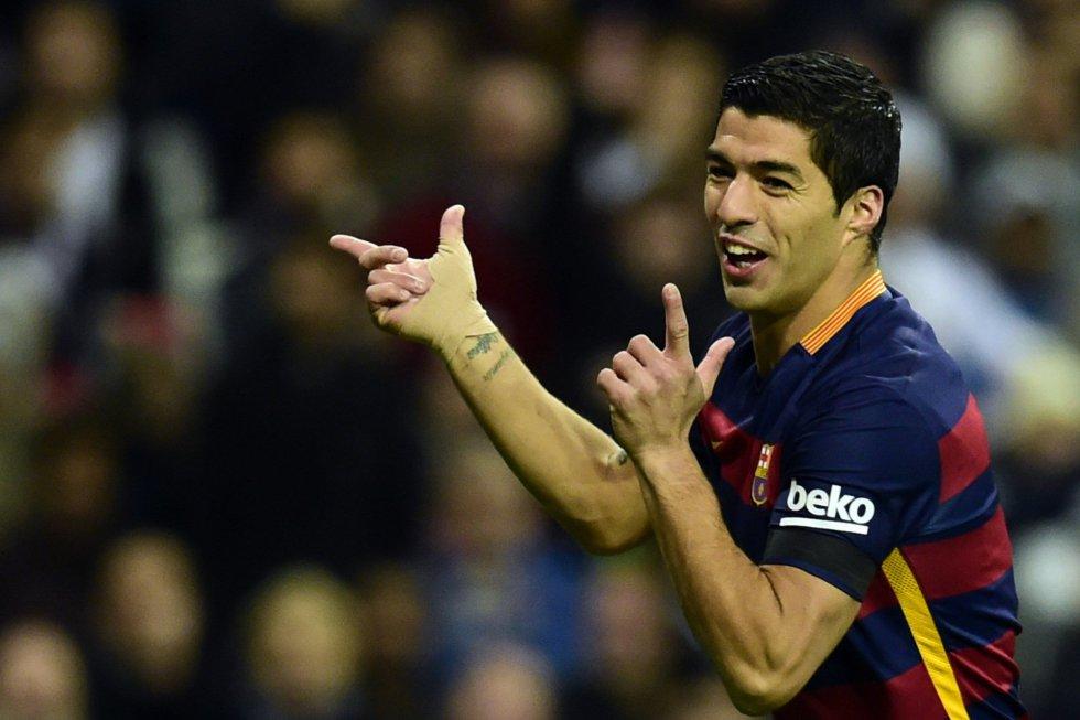 Luis Suárez celebra el gol al Madrid