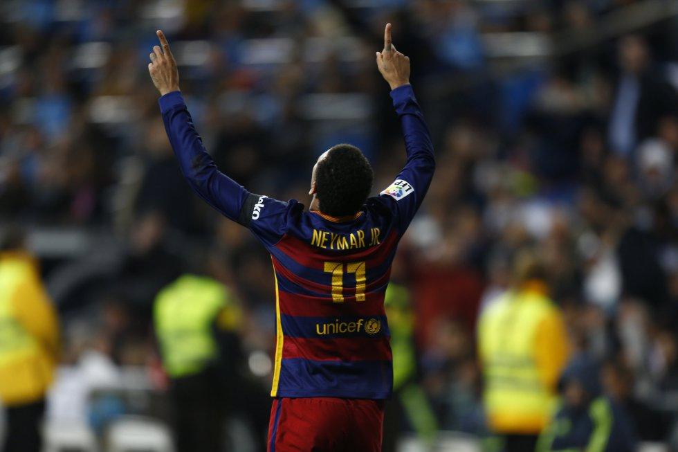 Neimar celebra un gol contra el Madrid rurante el encuentro