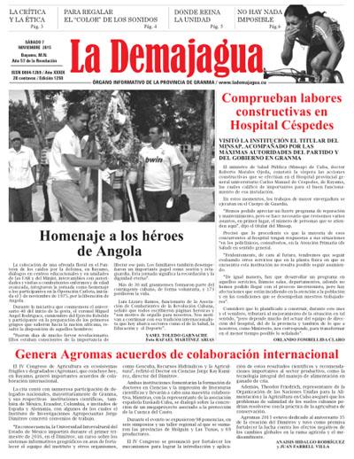 Edición impresa 1250 del semanario La Demajagua, 7 de noviembre 2015