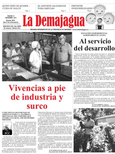 Edición impresa 1251 del semanario La Demajagua, 14 de noviembre 2015