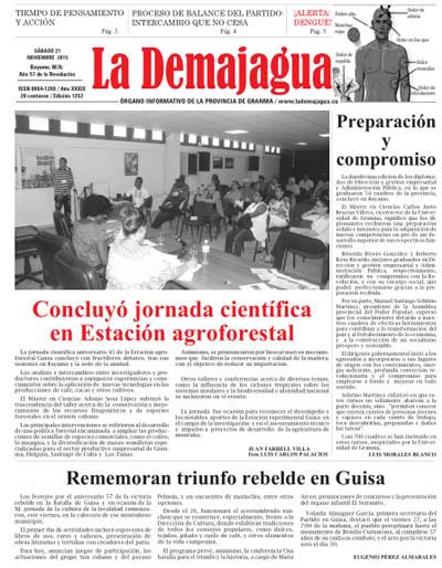 Edición impresa 1252 del semanario La Demajagua, 21 de noviembre 2015