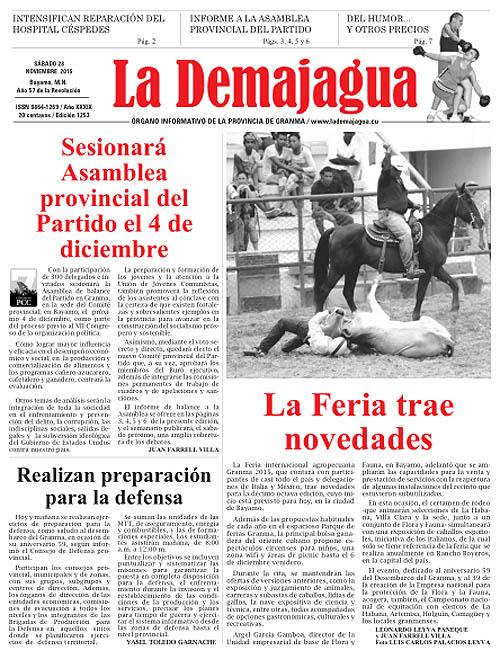 Edición impresa 1253 del semanario La Demajagua, sábado, 28 de noviembre de 2015