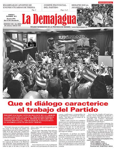Edición impresa 1254 del semanario La Demajagua, sábado 5 de diciembre de 2015