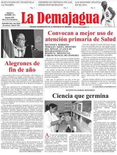 Edición impresa 1255 del semanario La Demajagua, sábado 12 de diciembre de 2015