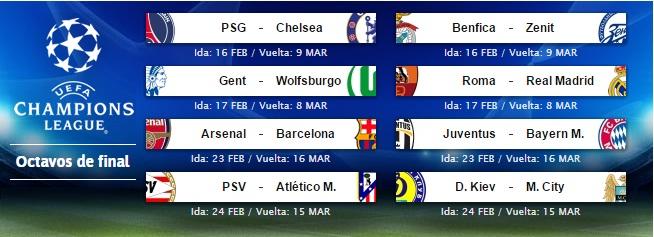 Sorteo Champions: Roma-Madrid, Arsenal-Barça y PSV-Atlético