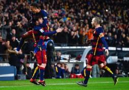 Neymar Celebra el gol frente al Espanyol