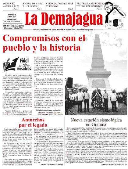 Edición impresa 1262 del semanario La Demajagua, sábado 30 de enero de 2016