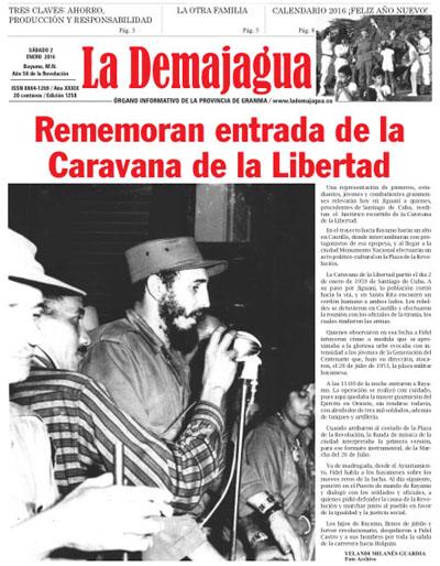 Edición impresa 1258 del semanario La Demajagua, 2 de enero de 2016