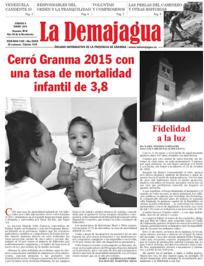 Edición 1259 impresa del semanario La Demajagua, sábado, 9 de enero de 2016
