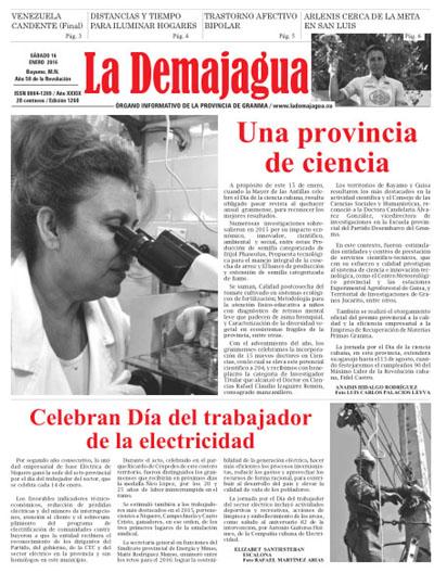 Edición impresa 1260 del semanario La Demajagua, sábado 16 de enero de 2016