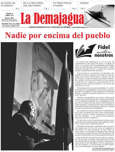 Edición impresa 1261 del semanario La Demajagua, sábado 23 de enero de 2016