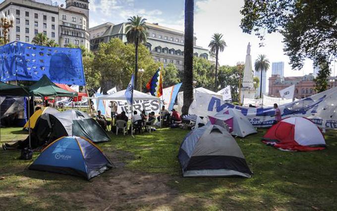 Acampe en Plaza de Mayo por liberación de Milagro Sala