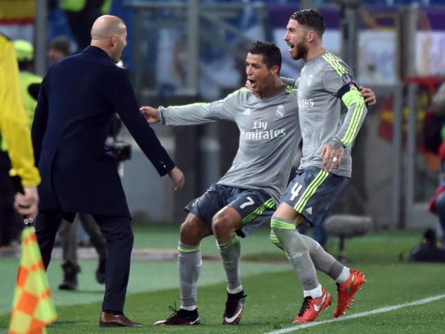Cristiano celebra su gol ante el Roma. FOTO/ EFE