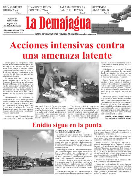 Edición impresa 1265 del semanario La Demajagua, sábado 20 de febrero de 2016