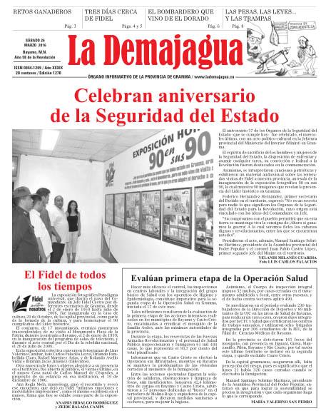Edición impresa 1270 del semanario La Demajagua, sábado 26 de marzo de 2016