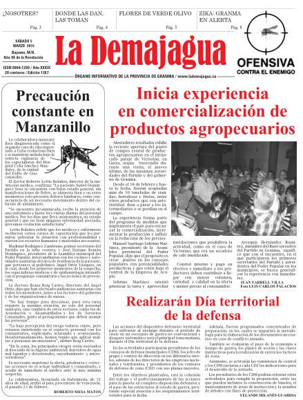 Edición impresa 1267 del semanario La Demajagua, sábado 5 de marzo de 2016