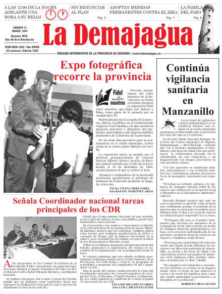 Edición impresa 1268 del semanario La Demajagua, sábado 12 de marzo de 2016
