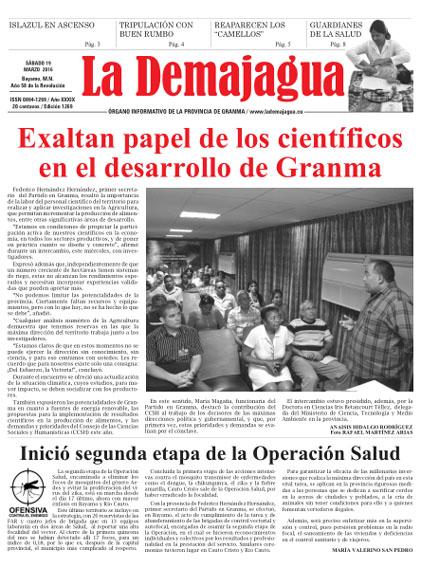Edición impresa 1269 del semanario La Demajagua, sábado 19 de marzo 2016