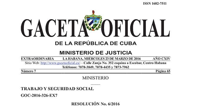 Publica la Gaceta Oficial modificaciones de la Resolución 17