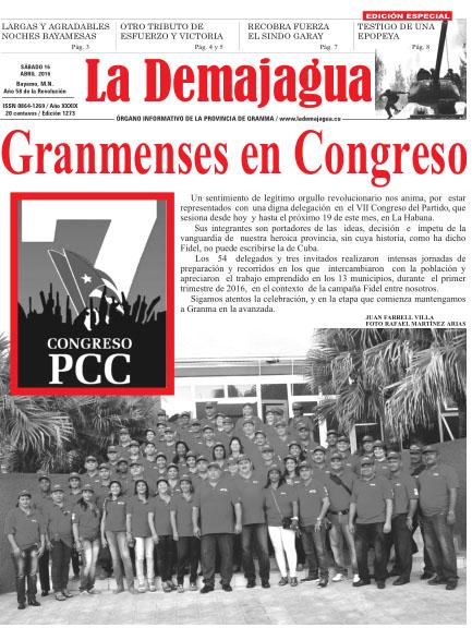 Edición impresa 1273 del semanario La Demajagua, sábado 16 de abril de 2016