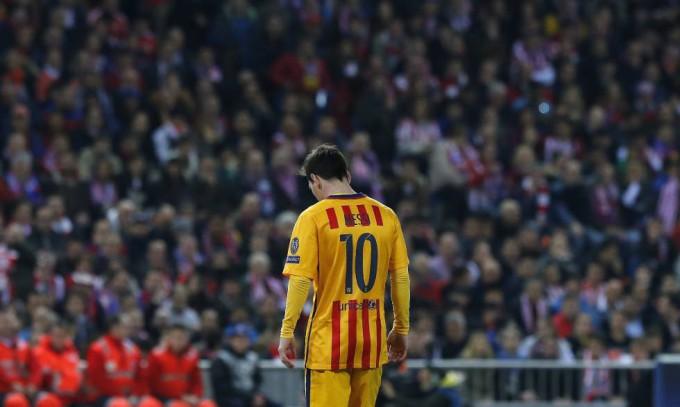Messi, durante el partido de vuelta en el Vicente Calderón. FOTO/ Ballesteros