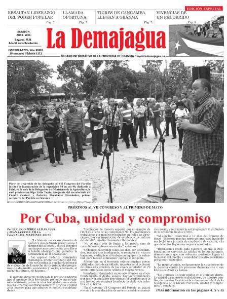 Edición impresa 1272 del semanario La Demajagua, sábado 9 de abril de 2016
