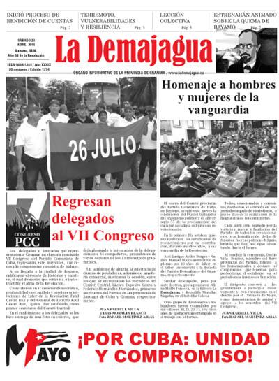 Edición impresa 1274 del semanario La Demajagua, sábado 23 de abril de 2016