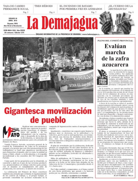 Edición impresa 1275 del semanario La Demajagua, sábado 30 de abril de 2016