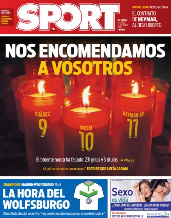 La MSN, esperanza blaugrana en la prensa catalana del martes