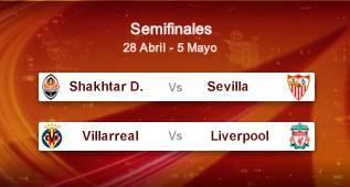 Shakhtar-Sevilla y Villarreal-Liverpool en las semifinales