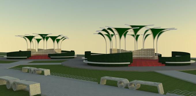 Representación computadorizada del proyecto en ejecución en el Parque del amor