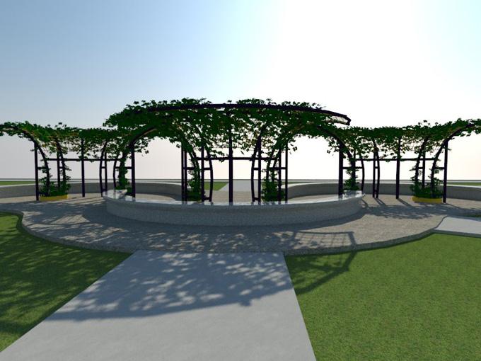 Reproducción virtual de pérgolas del Parque del amor