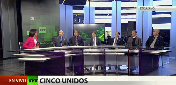 "Los Cinco en RT: ""EE.UU. sigue con el bloqueo injusto de Cuba"" (en EXCLUSIVA-Video)"
